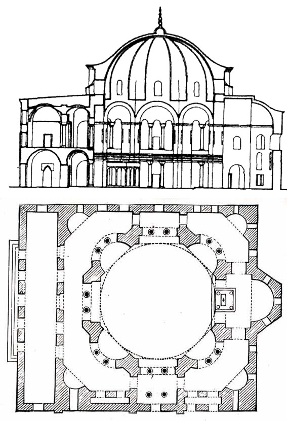 Kuk Ayasofya Camii - Coupe et plan